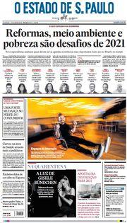 Capa do Jornal O Estado de S. Paulo Edição 2021-01-03