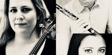 Flávia Motta (viola), Iura Rezende (clarineta) e Elisa Galleano (piano)