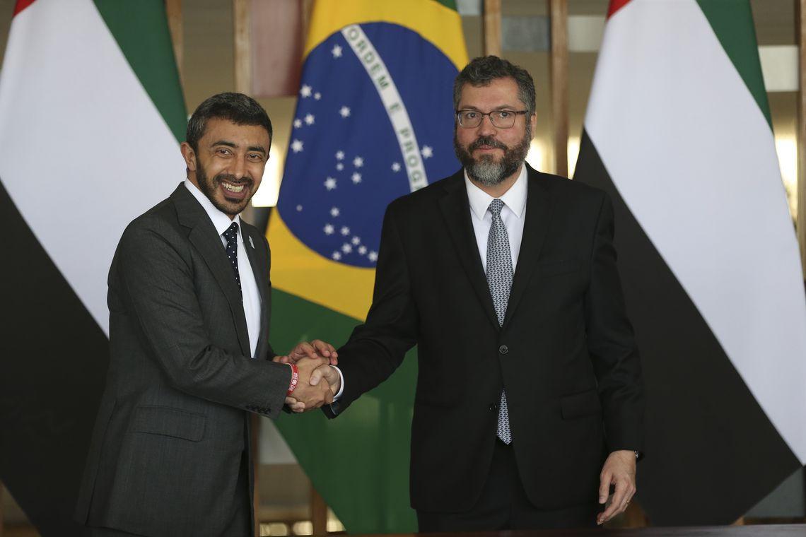 O ministro das Relações Exteriores, Ernesto Araújo, recebe o ministro dos Negócios Estrangeiros e Cooperação Internacional dos Emirados Árabes Unidos, Xeique Abdullah bin Zayed Al Nahayan, no Palácio Itamaraty.