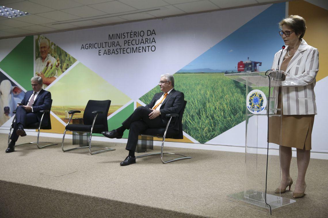 A ministra da Agricultura, Pecuária e Abastecimento, Tereza Cristina, acompanhada do secretário-executivo, Marcos Montes, abre a Reunião de Vice-Ministros de Agricultura do Brics