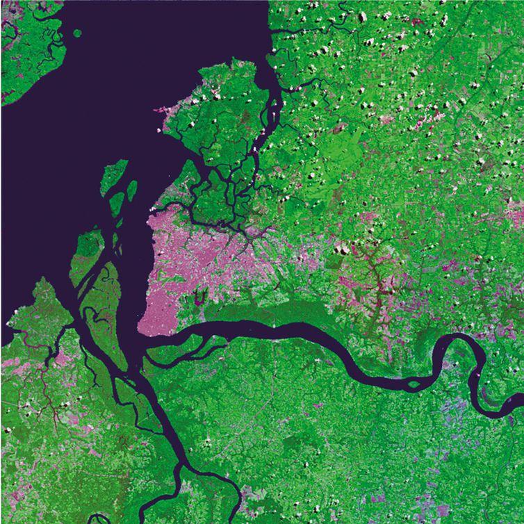 Imagem da região metropolitana de Belém tirada pelo satélite CBERS-4