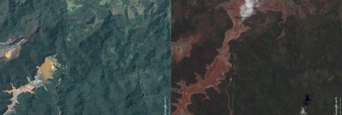 Barragem de Mariana - antes e depos