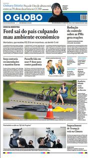 Capa do Jornal O Globo Edição 2021-01-12