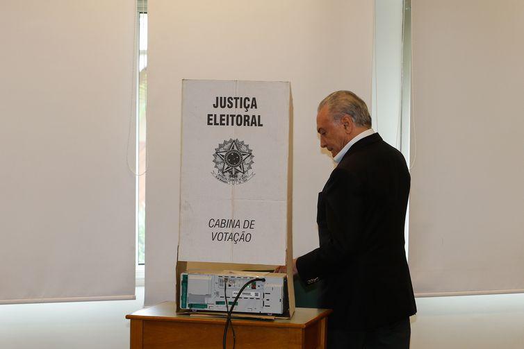 Presidente da República Michel Temer, vota no 2º turno das eleições 2018.