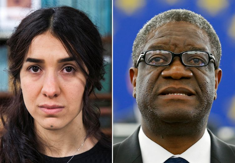 A combination picture shows the Nobel Prize for Peace 2018 winners: Yazidi survivor Nadia Murad posing for a portrait at United Nations headquarters in New York, U.S., March 9, 2017 (L) and Denis Mukwege delivering a speech during an award