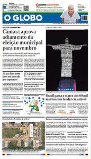 Capa do Jornal O Globo Edição 2020-07-02