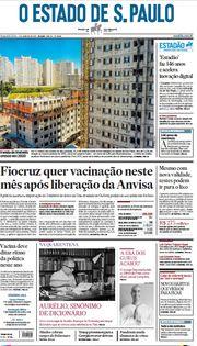 Capa do Jornal O Estado de S. Paulo Edição 2021-01-04