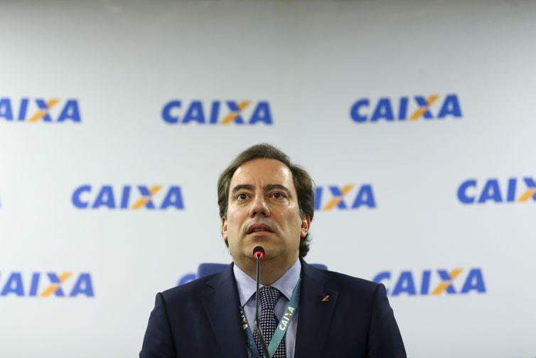 O presidente da CAIXA, Pedro Guimarães, durante entrevista coletiva para anunciar os calendários de pagamentos do FGTS e das cotas do PIS.