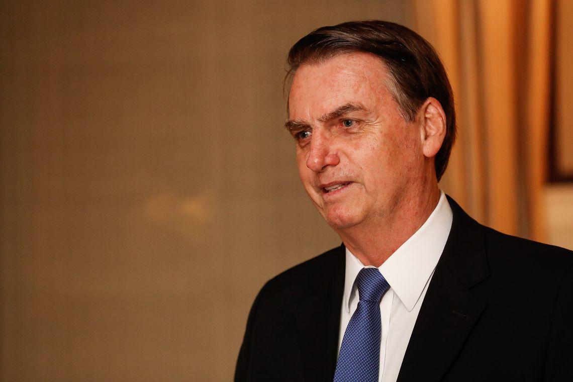 Presidente da República Jair Bolsonaro durante jantar com formadores de opinião, em Washington (EUA)