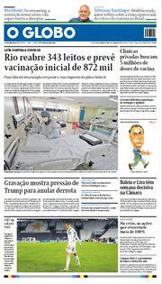Capa do Jornal O Globo Edição 2021-01-04