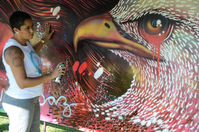 A grafiteira carioca Panmela Castro, apelidada de Grafiteira da Penha, para comemorar os nove anos da Lei Maria da Penha, pinta painel no gramado do Congresso Nacional (Fabio Rodrigues Pozzebom/Agência Brasil)