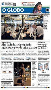 Capa do Jornal O Globo Edição 2020-07-03