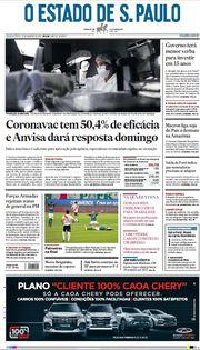 Capa do Jornal O Estado de S. Paulo Edição 2021-01-13