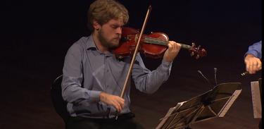 "Quarteto Atlântico executa ""Sonata para Cordas"" no Partituras"