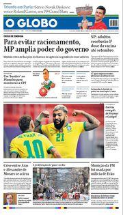 Capa do Jornal O Globo Edição 2021-06-14