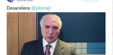Michel Temer critica João Dória, candidato ao governo de São Paulo pelo PSDB, em vídeo no Twitter