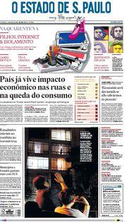 Capa do Jornal O Estado de S. Paulo Edição 2020-04-05