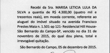 Recibo de aluguel apresentado pelo ex-presidente Lula com data de 31 de novembro. Crédito: Reprodução/Tribunal Regional Federal da 4ª Região