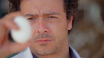 Alberto olha para um ovo