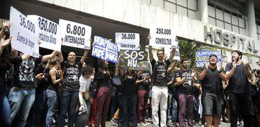 Protesto em frente ao Hospital do Fundão