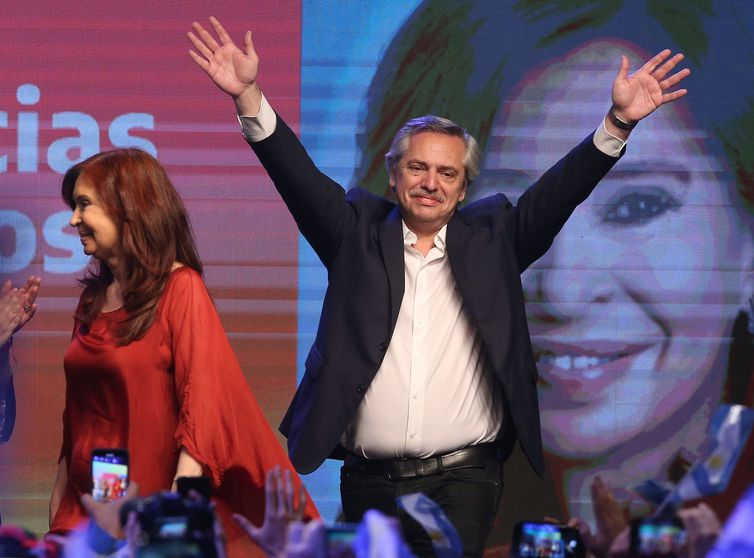 Presidential candidate Alberto Fernandez and running mate former President Cristina Fernandez de Kirchner celebrate after election results in Buenos Aires, Argentina October 27, 2019. REUTERS/Agustin Marcarian