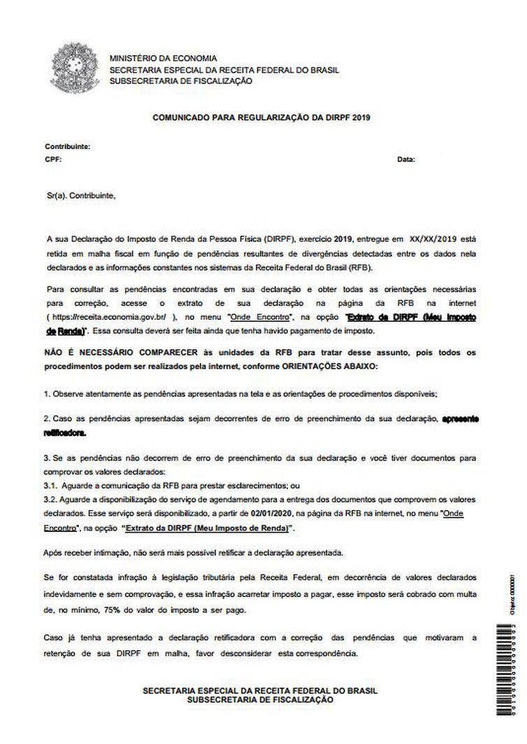 Modelo de carta enviada pela Receita Federal