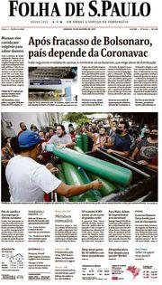 Capa do Jornal Folha de S. Paulo Edição 2021-01-16
