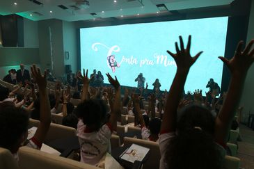 O ministro da Educação, Abraham Weintraub, e o secretário de Alfabetização, Carlos Nadalim, lançam programa Conta pra Mim