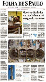 Capa do Jornal Folha de S. Paulo Edição 2021-04-12