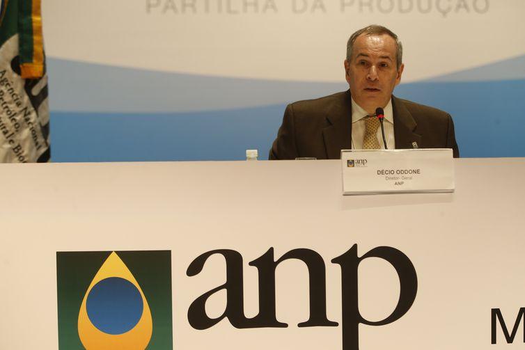 O diretor-geral da ANP, Décio Oddone, durante entrevista coletiva sobre a 5ª Rodada de Licitações de Partilha da Produção de petróleo em áreas do pré-sal