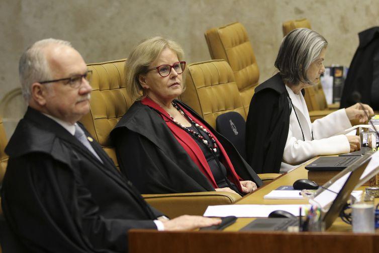 Os ministros Edson Fachin, Rosa Weber e Carmem Lucia, durante julgamento da validade de prisão em segunda instância