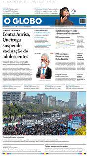 Capa do Jornal O Globo Edição 2021-09-17