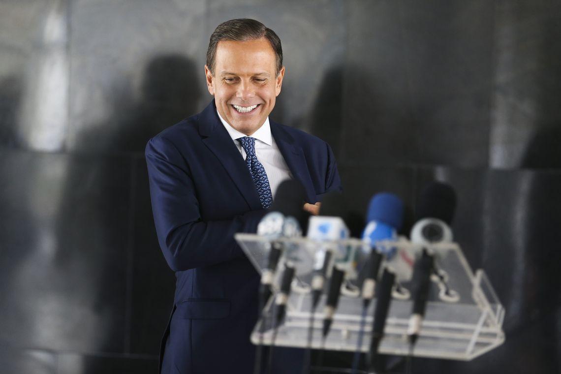 O governador de São Paulo, João Doria, durante coletiva à imprensa, após encontro com o presidente, Jair Bolsonaro