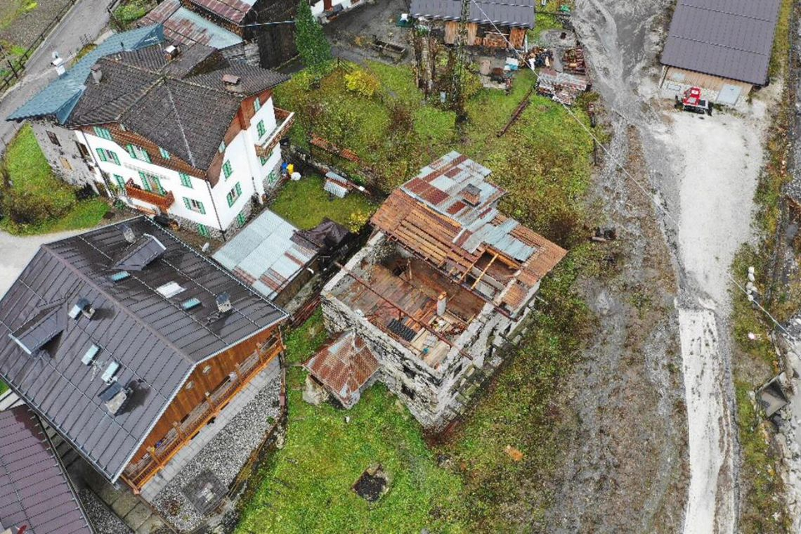 Pettorina Valley (Italy), 03/11/2018.- A general of a damaged building as damage was caused by severe bad weather in the recent days in the Pettorina Valley, Veneto Region, northern Italy, 03 November 2018. A number of towns and villages were