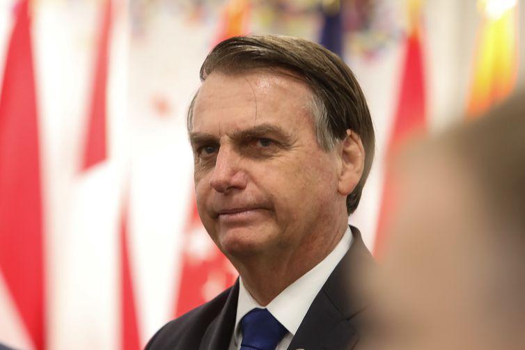 Presidente da República, Jair Bolsonaro, durante reunião paralela dos Líderes do G20 sobre o Empoderamento das Mulheres, em Osaka, Japão.