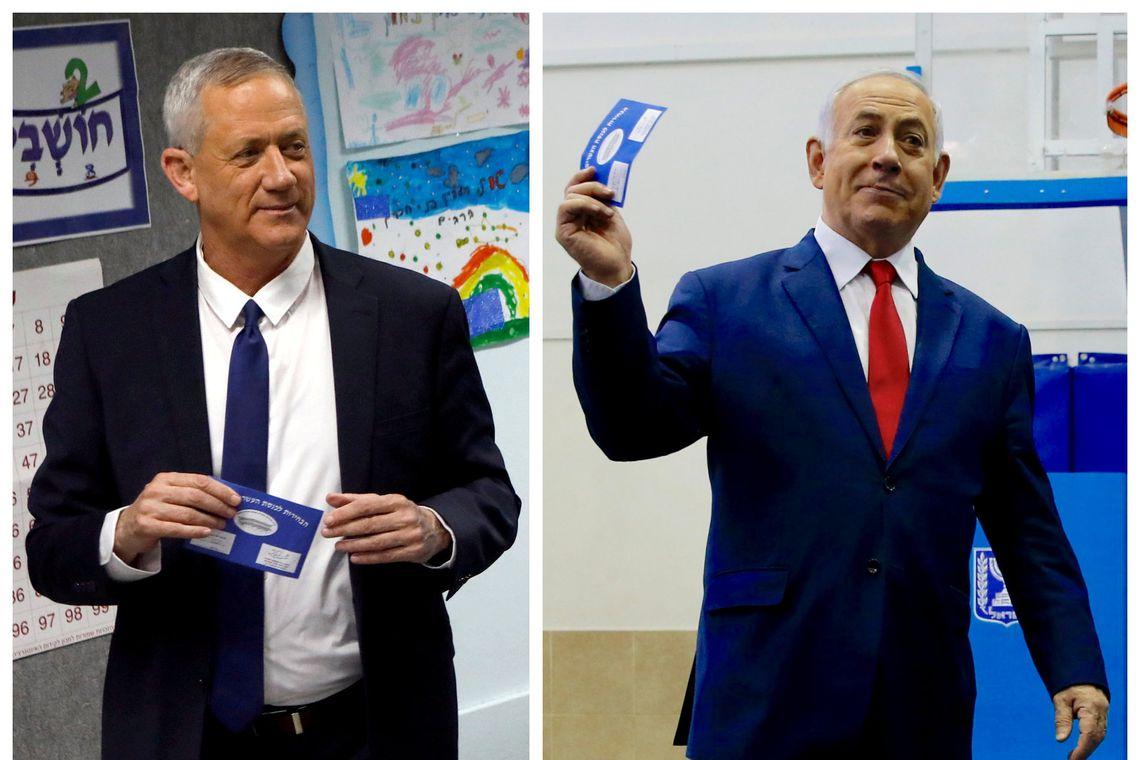 Uma imagem combinada mostra Benny Gantz (à esquerda), líder do partido Azul e Branco votando em Rosh Haayin e o primeiro-ministro de Israel, Benjamin Netanyahu, votando em Jerusalém durante a eleição parlamentar de Israel.