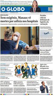 Capa do Jornal O Globo Edição 2021-01-15