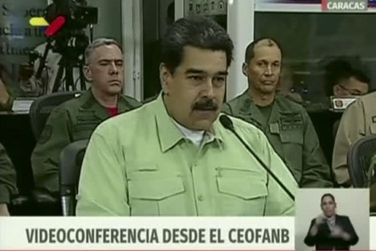 Presidente da Venezuela, Nicolás Maduro, durante videoconferência.