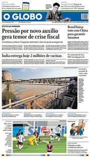 Capa do Jornal O Globo Edição 2021-01-22