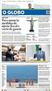 Capa do Jornal O Globo Edição 2021-01-02