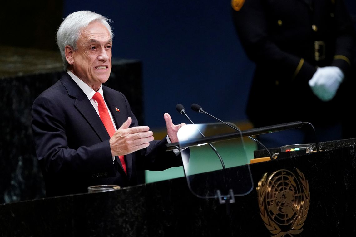 FILE PHOTO: Chile's President Sebastian Pinera addresses the 74th session of the United Nations General Assembly at U.N. headquarters in New York City, New York, U.S., September 24, 2019. REUTERS/Carlo Allegri/File Photo