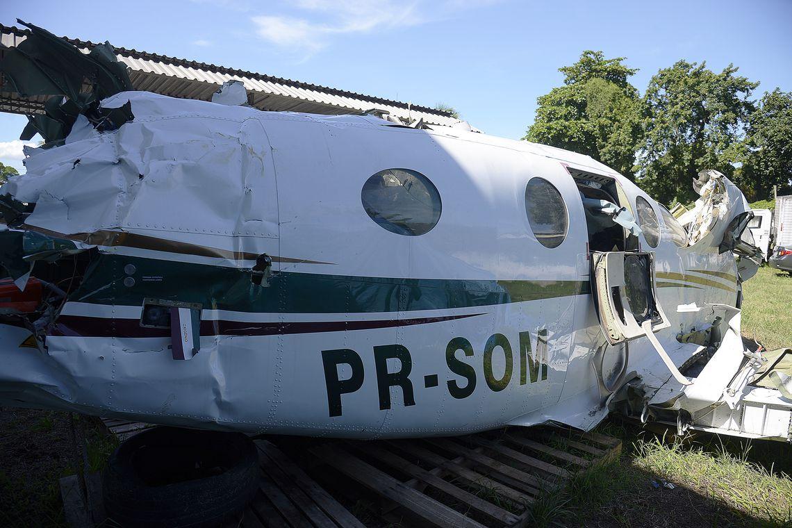 Rio de Janeiro - Destroços da aeronave que caiu no mar de Paraty e matou o ministro do STF Teori Zavascki e mais quatro pessoas em 19 de janeiro de 2017 (Tomaz Silva/Agência Brasil)