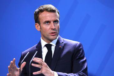 Presidente francês Emmanuel Macron durante entrevista coletiva, em Berlim