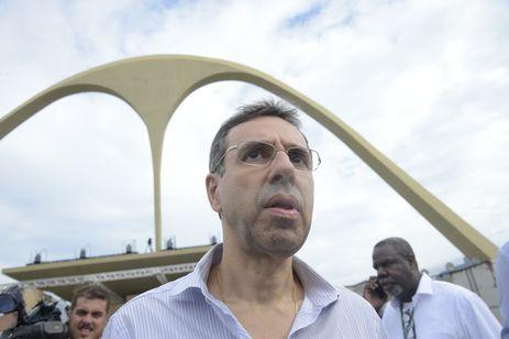 Jorge Castanheira, presidente da Liga Independente das Escolas de Samba do Rio de Janeiro, durante vista do governador Wilson Witzel ao Sambódromo, na Marquês de Sapucaí.