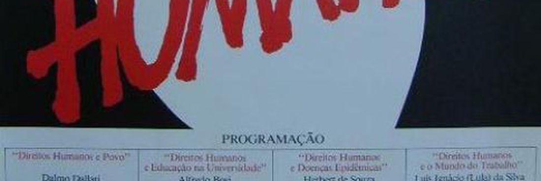 Cartaz pelos direitos humanos da Comissão Justiça e Paz da Arquidiocese de São Paulo