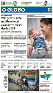 Capa do Jornal O Globo Edição 2021-01-17