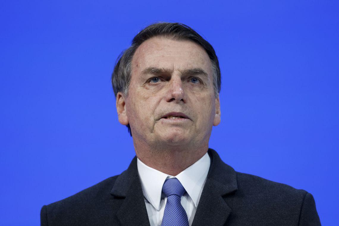 Presidente Jair Bolsonaro discursa durante Sessão Plenária do Fórum Econômico Mundial em Davos.