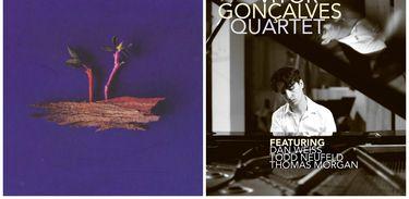 """Capas dos CDs """"Boa noite pra falar com o mar"""", de Joana Queiroz e """"Vitor Gonçalves Quartet"""", do pianista e compositor"""