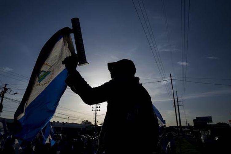 - Protesto na cidade de Managuá, na Nicarágua   strong Jorge Torres/Agência EFE/Direitos Reservados  /strong
