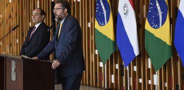 O ministro das Relações Exteriores do Paraguai, Antonio Rivas Palacios e o ministro Ernesto Araújo, durante encontro no palácio do Itamaraty